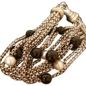 David Yurman 18k Y Gold Silver Pearl Onyx bracelet